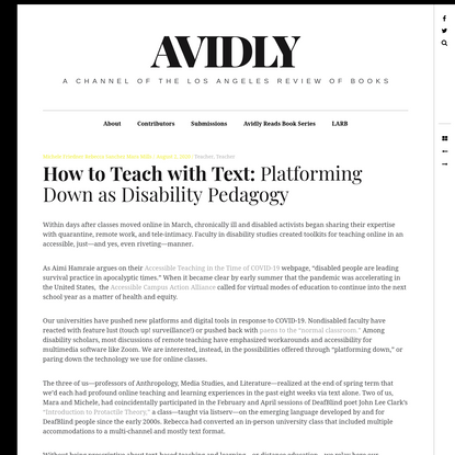 How to Teach with Text: Platforming Down as Disability Pedagogy