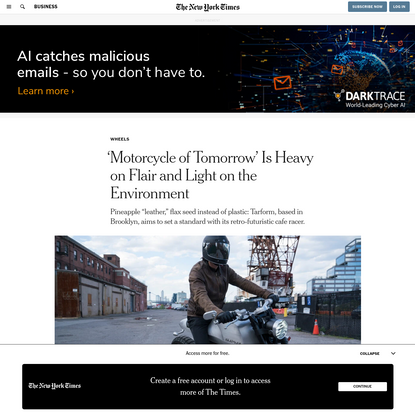 'Motorcycle of Tomorrow' Is Heavy on Flair and Light on the Environment