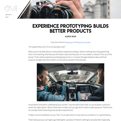 Experience prototyping builds better products - George Cave