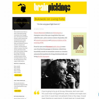 Bukowski on Living Fully – Brain Pickings