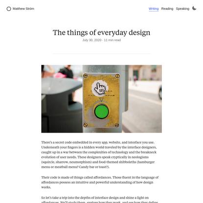 The things of everyday design    Matthew Ström: designer & developer