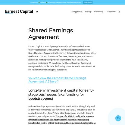 Shared Earnings Agreement