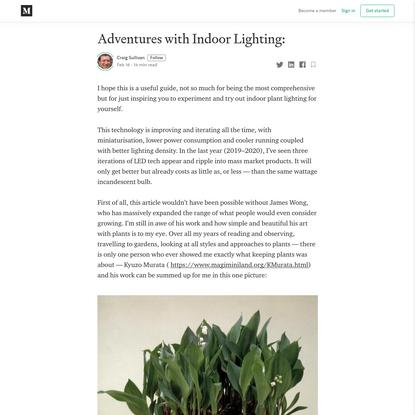 Adventures with Indoor Lighting: