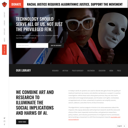 Algorithmic Justice League - Unmasking AI harms and biases