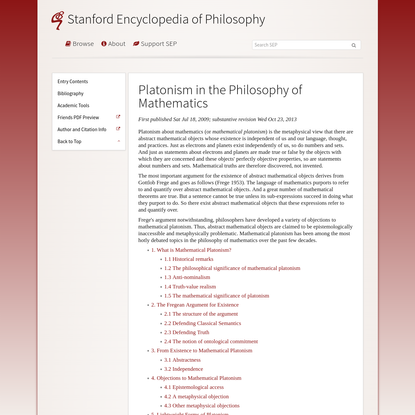 Platonism in the Philosophy of Mathematics (Stanford Encyclopedia of Philosophy)