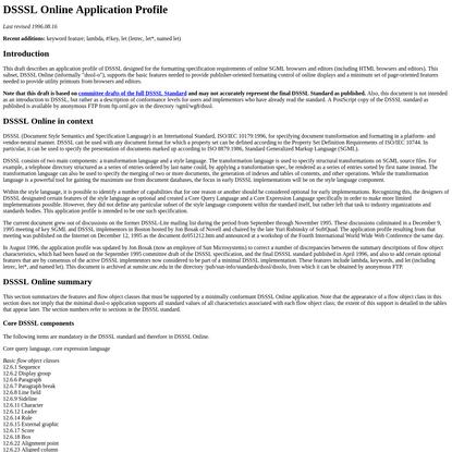 DSSSL Online Application Profile