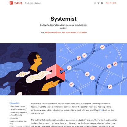 Systemist: Todoist's Founder's Personal Productivity Workflow
