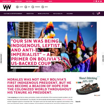 """""""Our Sin Was Being Indigenous, Leftist, and Anti-Imperialist"""" - A Primer On Bolivia's US-Backed Coup"""
