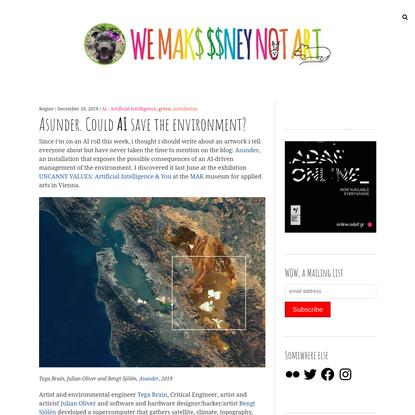 Asunder. Could AI save the environment?