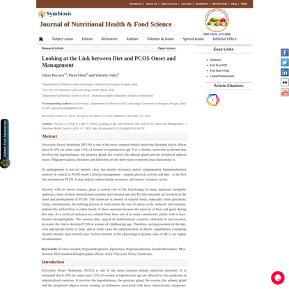 Looking at the Link between Diet and PCOS Onset and Management