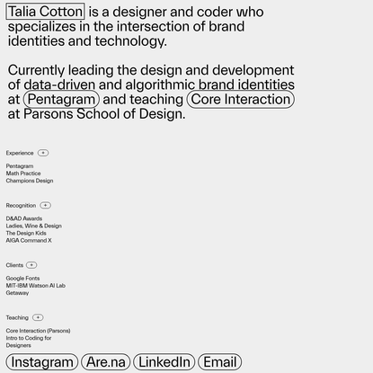 Talia Cotton, designer & coder