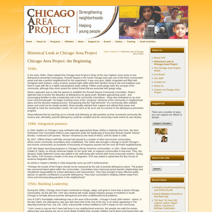 Historical Look at Chicago Area Project | Chicago Area Project