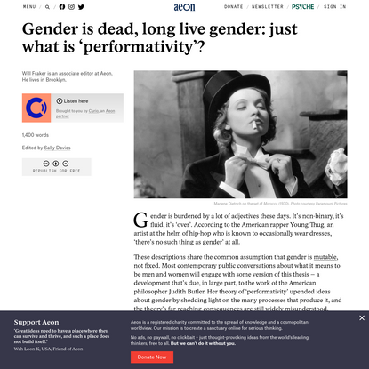 Gender is dead, long live gender: just what is 'performativity'? - Will Fraker | Aeon Ideas