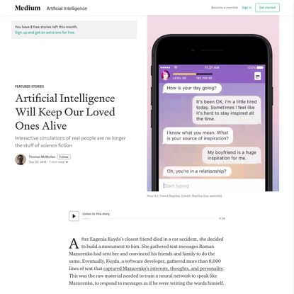 Artificial Intelligence Will Keep Our Loved Ones Alive