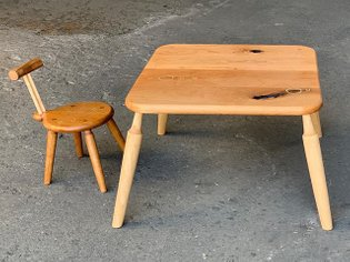(Unnamed) Chair + Table / kid's . Kid's chair and table are in Cherry with Maple spindles in a natural hard-wax oil finish. ...