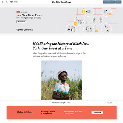 He's Sharing the History of Black New York, One Tweet at a Time