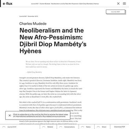 Neoliberalism and the New Afro-Pessimism: Djibril Diop Mambéty's Hyènes
