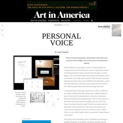Personal Voice - Magazine - Art in America