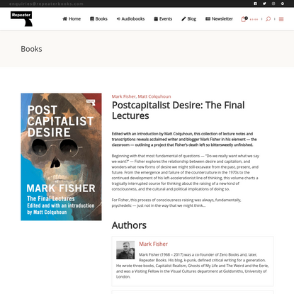 Postcapitalist Desire: The Final Lectures - Repeater Books