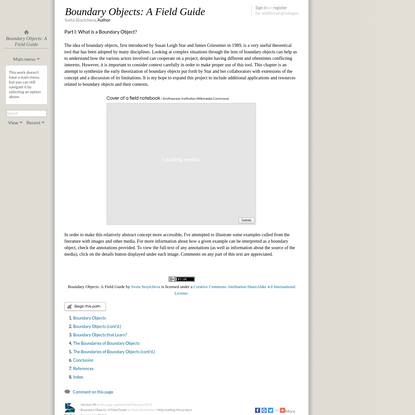 Boundary Objects: A Field Guide: Part I: What is a Boundary Object?