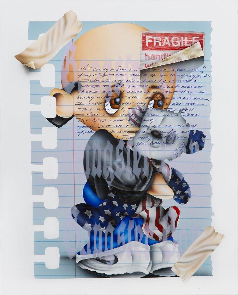 Mario Ayala, BG, 2019, Acrylic on paper, 21 x 17 inches