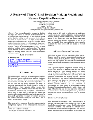 A Review of Time Critical Decision Making Models and Human Cognitive Processes
