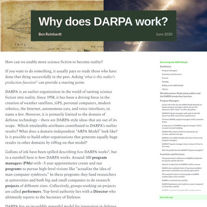 Why does DARPA work?