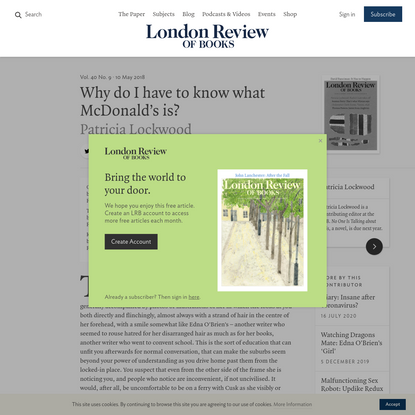 Patricia Lockwood · Why do I have to know what McDonald's is? Rachel Cusk takes off · LRB 10 May 2018