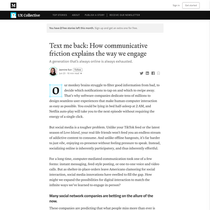 Text me back: How communicative friction explains the way we engage | by Jasmine Sun | Jun, 2020 | UX Collective