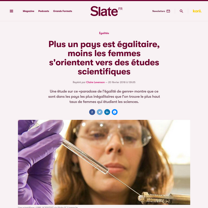 Plus un pays est égalitaire, moins les femmes s'orientent vers des études scientifiques | Slate.fr