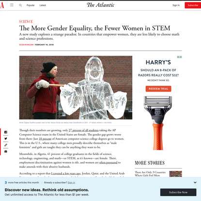 The More Gender Equality, the Fewer Women in STEM - The Atlantic