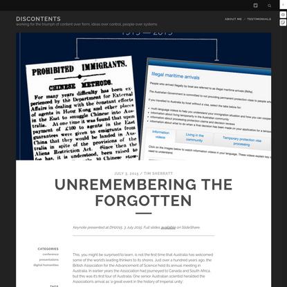 Unremembering the forgotten