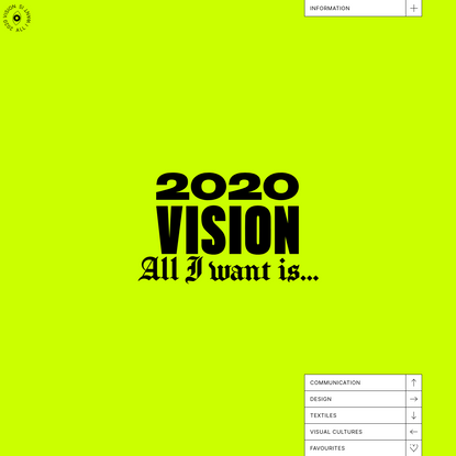 2020 Vision - All I want is...