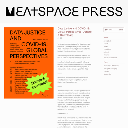 Data Justice and COVID-19: Global Perspectives (Donate & Download)