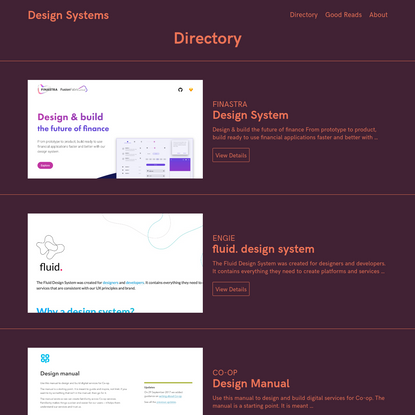 Design Systems / Directory & Good Reads