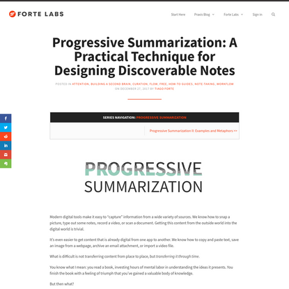 Progressive Summarization: A Practical Technique for Designing Discoverable Notes - Forte Labs