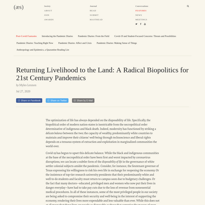 Returning Livelihood to the Land: A Radical Biopolitics for 21st Century Pandemics | American Ethnological Society