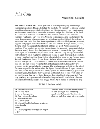 Macrobiotic Recipes, John Cage