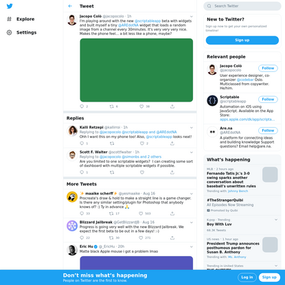 Jacopo Colò (@jacopocolo) Tweeted: I'm playing around with the new @scriptableapp beta with widgets and built myself a tiny @AREdotNA widget that loads a random image from a channel every 30minutes. It's very very very nice. Makes the phone feel… a bit less like a phone, maybe? https://t.co/BWrEkBGc8O