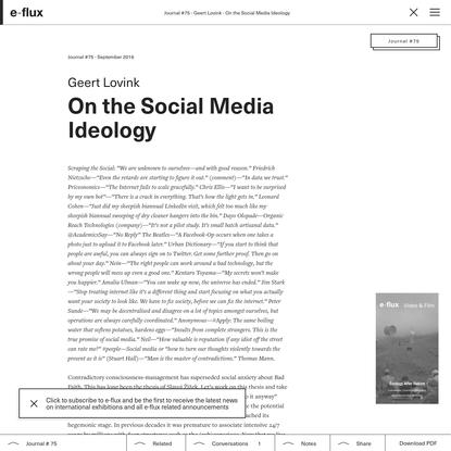 On the Social Media Ideology