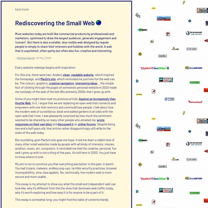Rediscovering the Small Web