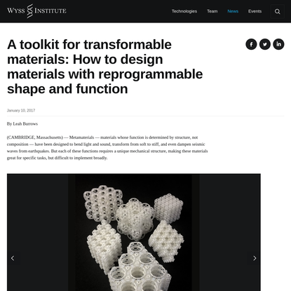 A toolkit for transformable materials: How to design materials with reprogrammable shape and function | Wyss Institute