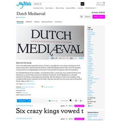 "Dutch Mediaeval™ - Webfont & Desktop font "" MyFonts"