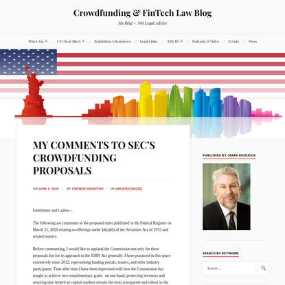 MY COMMENTS TO SEC'S CROWDFUNDING PROPOSALS