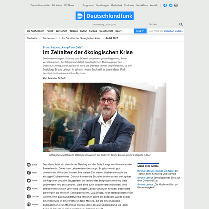 """Bruno Latour: """"Kampf um Gaia"""" - Im Zeitalter der ökologischen Krise"""