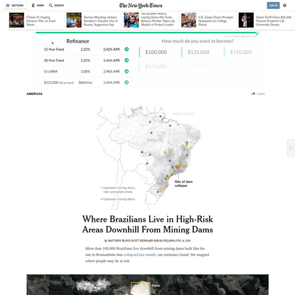 Where Brazilians Live in High-Risk Areas Downhill From Mining Dams