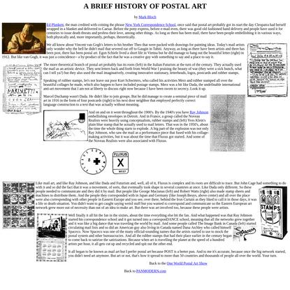 Postal Art History by Mark Bloch