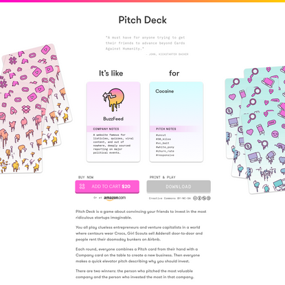 Pitch Deck - A game about convincing your friends to invest in the most ridiculous startups imaginable