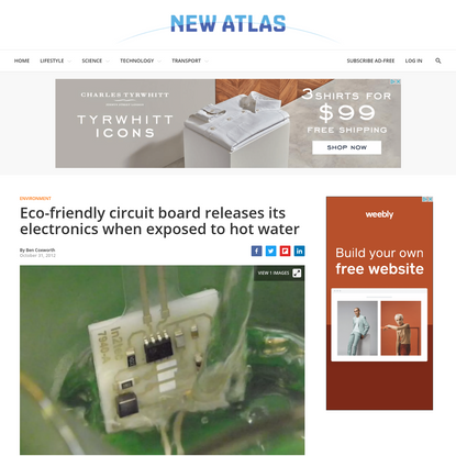 Eco-friendly circuit board releases its electronics when exposed to hot water