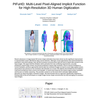 PIFuHD: Multi-Level Pixel-Aligned Implicit Function for High-Resolution 3D Human Digitization